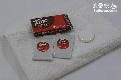 Tune Hotel超級簡單的沐浴備品,而且要花錢買!