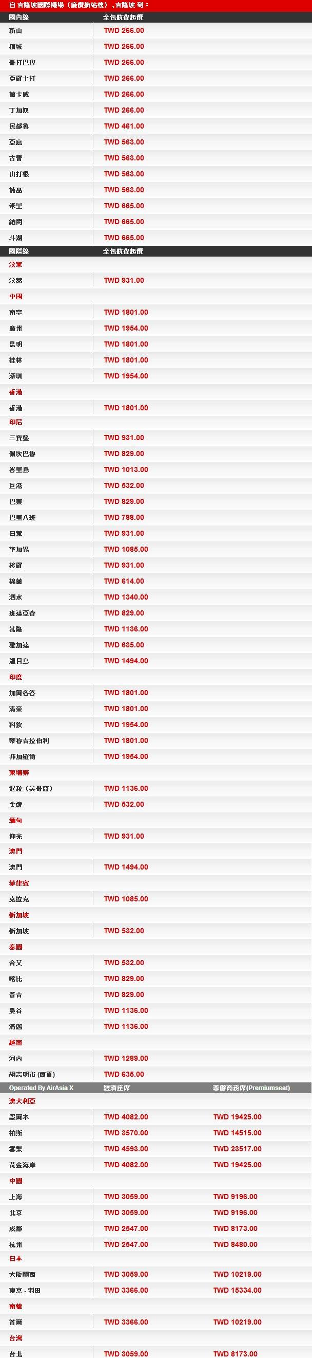亞洲航空特惠票價表