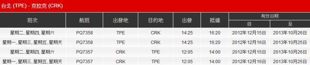 亞洲航空台北克拉克航班班表