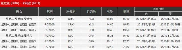 亞洲航空克拉克卡利波航班班表