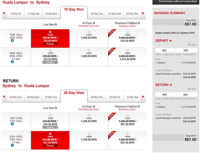 吉隆坡雪梨旅遊日期5月1日~6月30日來回促銷價格867馬幣含稅