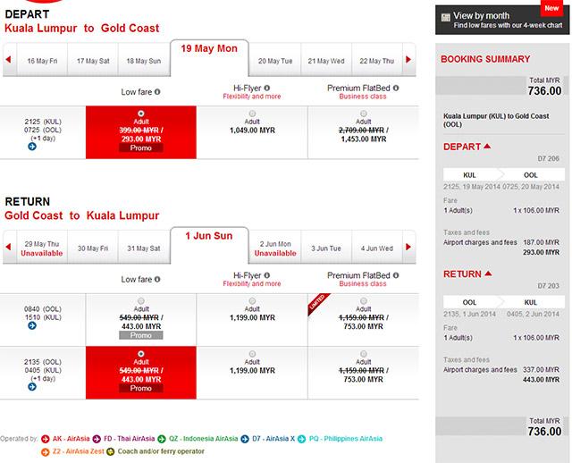 吉隆坡黃金海岸旅遊日期5月1日~6月30日來回促銷價格736馬幣含稅