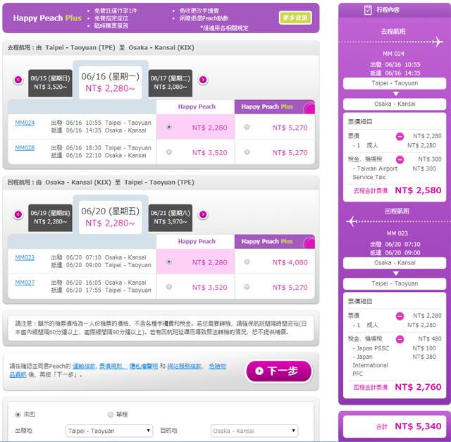 台北大阪來回機票只要5340