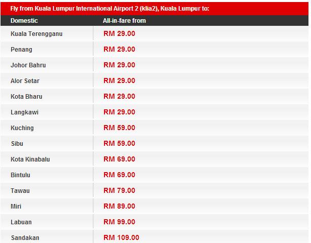 Airasia吉隆坡國內線的年度特惠機票