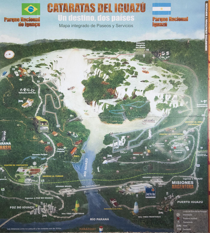 伊瓜蘇瀑布位於巴西與阿根廷的邊境(點我看大圖)