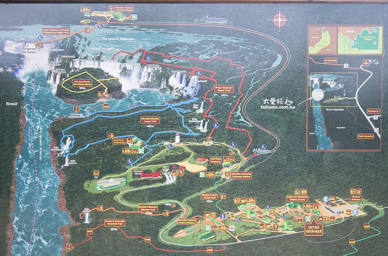 阿根廷伊瓜蘇瀑布公園地圖(點我看大圖)