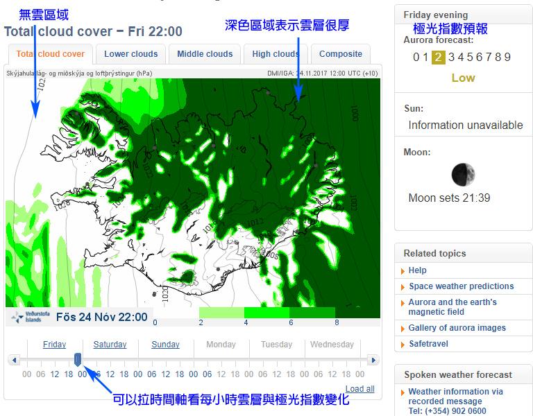 冰島天氣預報極光指數