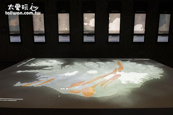 接待大廳冰島全島投影圖展示著全島的斷層及火山活動