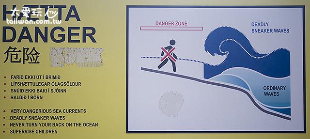 警告各位遊客不要太接近海水