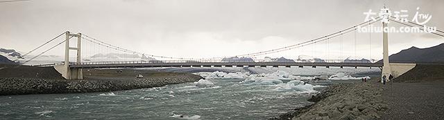 冰河湖與大海之間有一條寬度約100公尺、長約四、五百公尺的水道連接