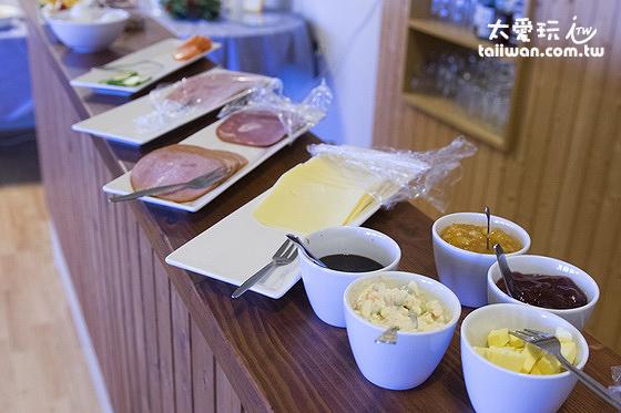 維特賽庫爾酒店早餐火腿、起司及果醬