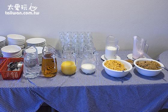 維特賽庫爾酒店早餐牛奶、麥片及果汁
