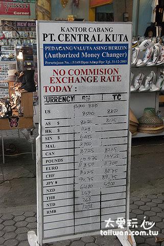 巴里島每間換匯店的匯率都不大一樣