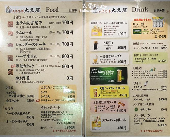 2017年日文菜單