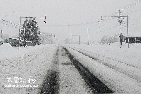 路邊有紅白相間的指標告訴你路肩的位置