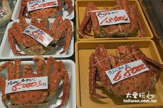 和商市場也有賣帝王蟹等蒸煮好的冷藏海鮮