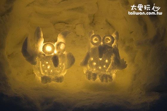 小樽雪燈祭的貓頭鷹雪燈