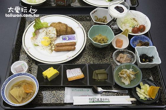早餐包含了西式與日式的餐點
