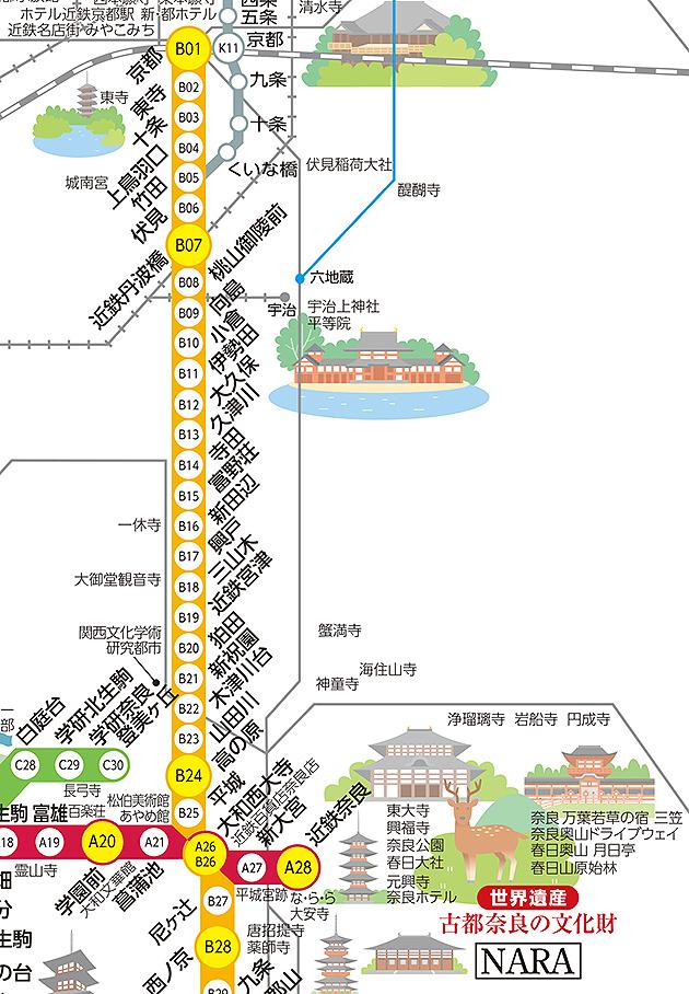 近鐵京都奈良路線圖,點我看大圖,資料來源:近鐵官網
