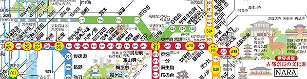 近鐵大阪奈良路線圖,點我看大圖,資料來源:近鐵官網