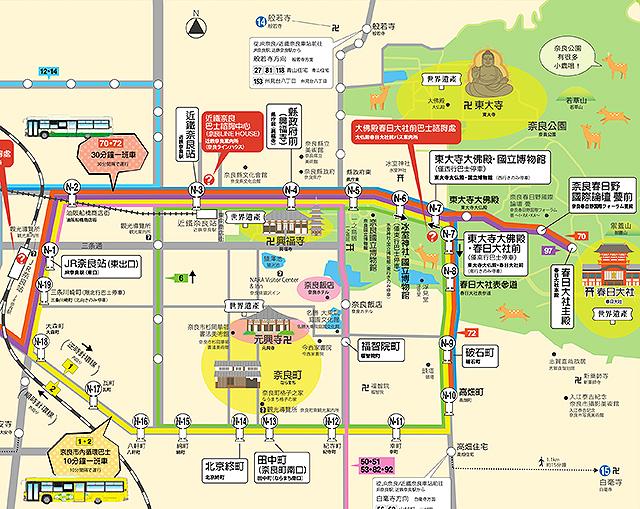 奈良公車路線圖,點我看大圖,資料來源:奈良交通官網