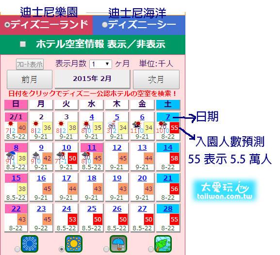 東京迪士尼入園人數預估網站