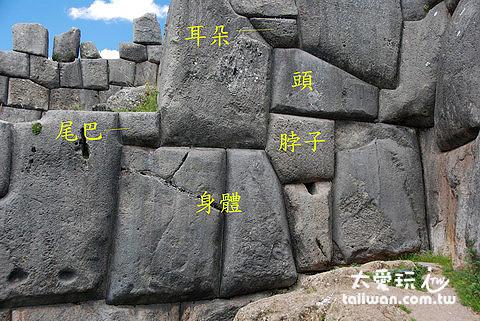 地基石牆上 Llama 圖案(用以感謝 Llama 對印加人的貢獻)