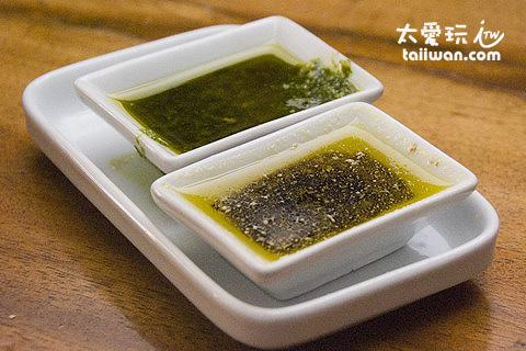 Dos Mestizos西班牙餐廳麵包沾特製的橄欖油還蠻香蠻好吃的