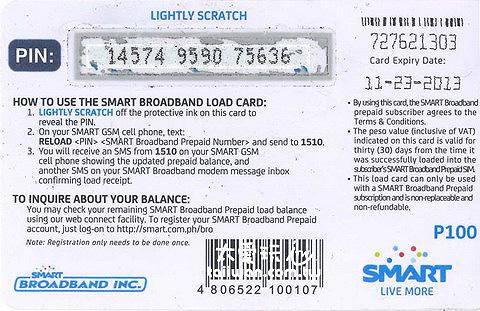 SMART的儲值卡背面把條碼刮開得到一組號碼