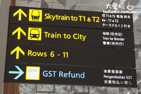 新加坡機場GST Refund退稅櫃台指標