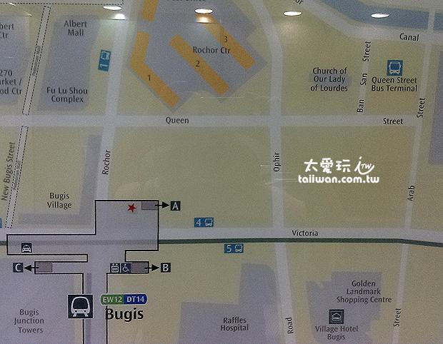捷運MRT Bugis車站出口平面圖