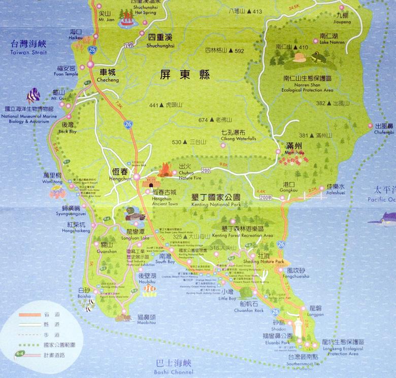 墾丁地圖(出處:墾丁國家公園管理處)