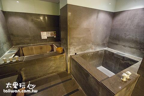 北投春天酒店皇家湯屋浴室有兩個泡湯池