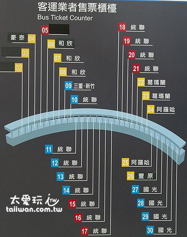 台北轉運站業者售票櫃臺