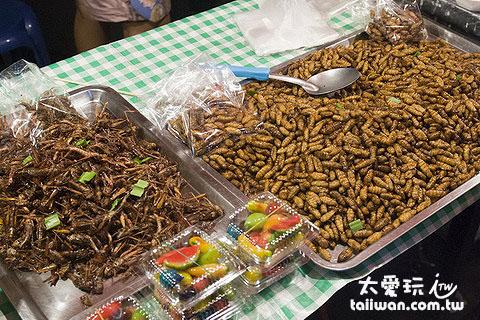 蘇叻他尼夜市裡的炸昆蟲