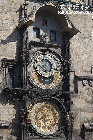 布拉格天文鐘有三大部分「耶穌十二信徒」、「天文鐘」及「日曆鐘盤」